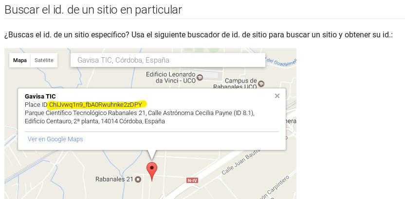 ID de Gavisa TIC subrayado en el API de Google Places